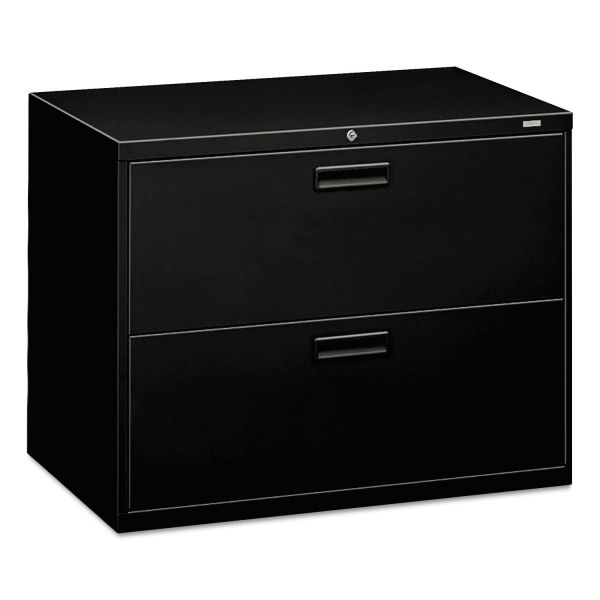 HON 500 Series Two-Drawer Lateral File, Letter/Legal/A4, 36w x 19-1/4d x 28-3/8h, Black