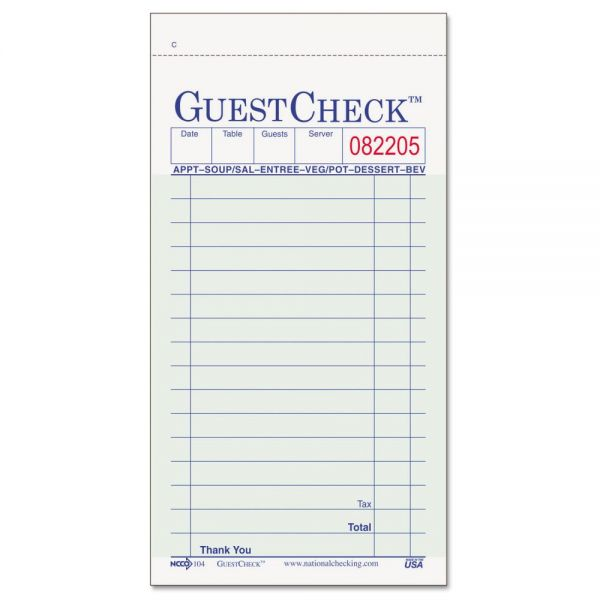 National Checking Company Guest Check Pads