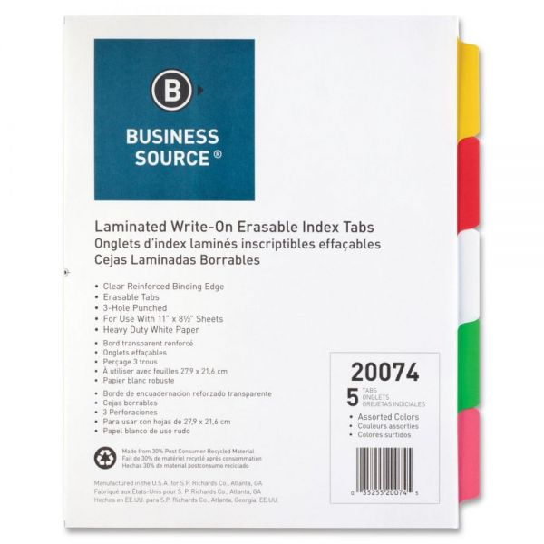 Business Source Laminated Tab Dividers