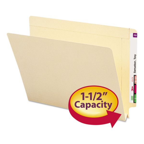 Smead 1 1/2 Inch Expansion Folders, Straight End Tab, Letter, Manila, 50/Box