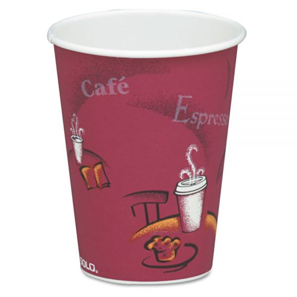 Dart Bistro Design Hot Drink Cups, Paper, 8oz, Maroon, 50/Pack