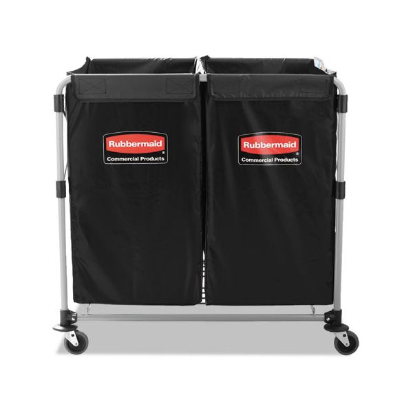 Rubbermaid Commercial Collapsible X-Cart, Steel, 2 to 4 Bushel Cart, 24 1/10w x 35 7/10d, Black/Silver