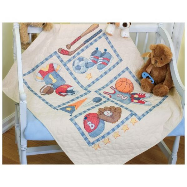 Dimensions Baby Hugs Little Sports Quilt Stamped Cross Stitch Kit