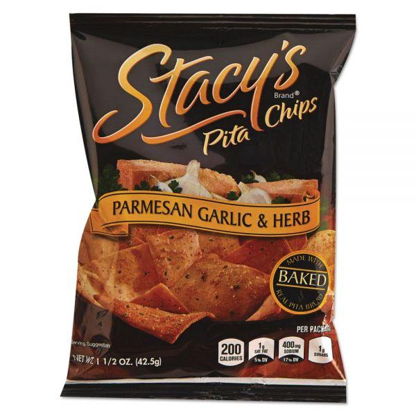 Stacy's Pita Chips, 1.5 oz Bag, Parmesan Garlic & Herb, 24/Carton