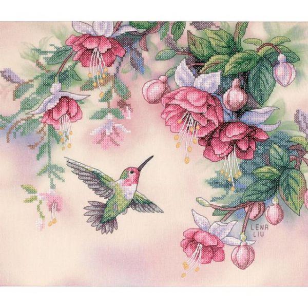 Hummingbird & Fuchsias Stamped Cross Stitch Kit