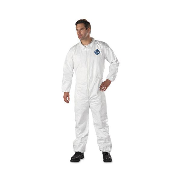 DuPont Tyvek Elastic-Cuff Coveralls, HD Polyethylene, White, Large, 25/Carton