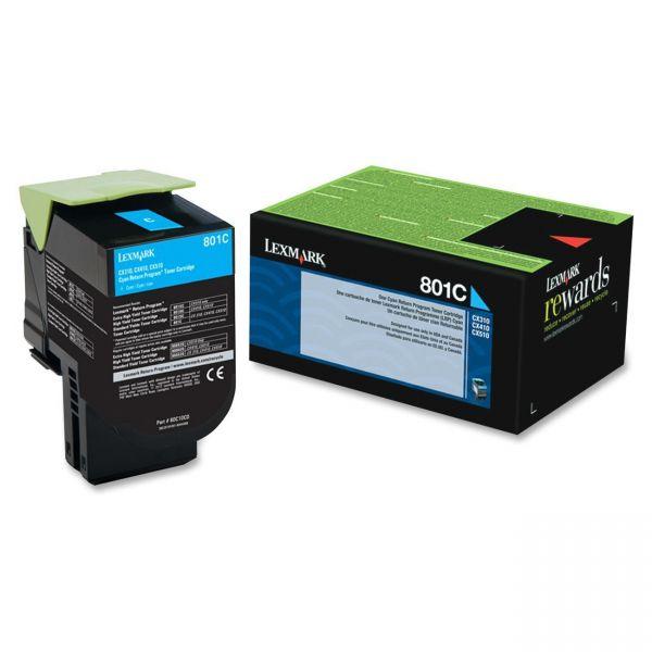 Lexmark 801C Cyan Return Program Toner Cartridge (80C10C0)
