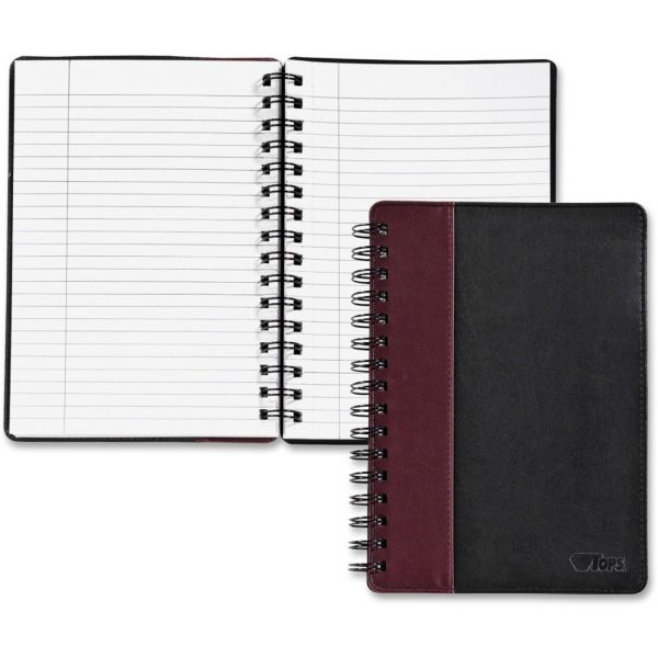 TOPS Black/Burgundy Leatherette Notebook