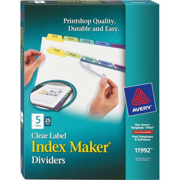 Avery Print & Apply Clear Label Dividers, 5-Tab, Multi-color Tab, Letter, 25 Sets