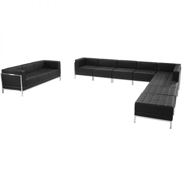 Flash Furniture HERCULES Imagination Series Black Leather Sectional & Sofa Set, 10 Pieces