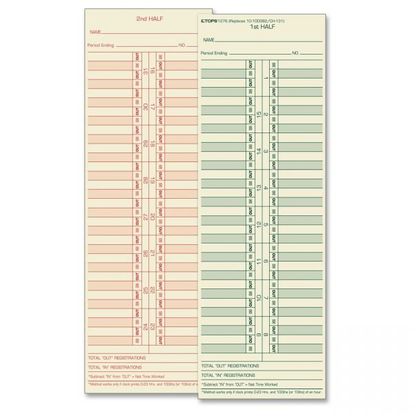 TOPS Double-Sided Semi-Monthly Time Cards