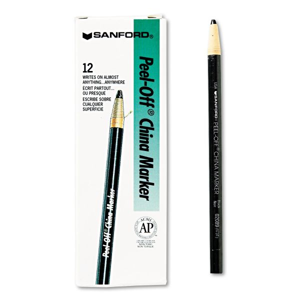 Sharpie Peel-Off China Markers, Black, Dozen