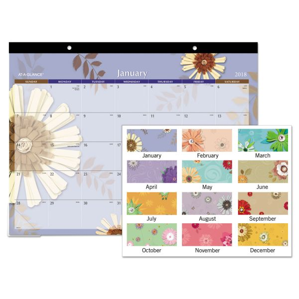 At-A-Glance Paper Flowers Monthly Desk Pad Calendar