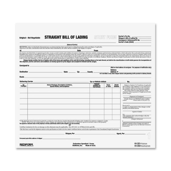 Rediform Snap-A-Way Bill of Lading Forms