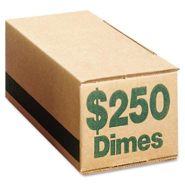 PM Company Corrugated Cardboard Coin Storage w/Denomination Printed On Side, Green