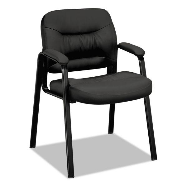 HON VL640 Series Leather Guest Leg Base Chair, Black
