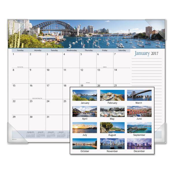 Visual Organizer Panoramic Harbor Views Monthly Desk Pad Calendar