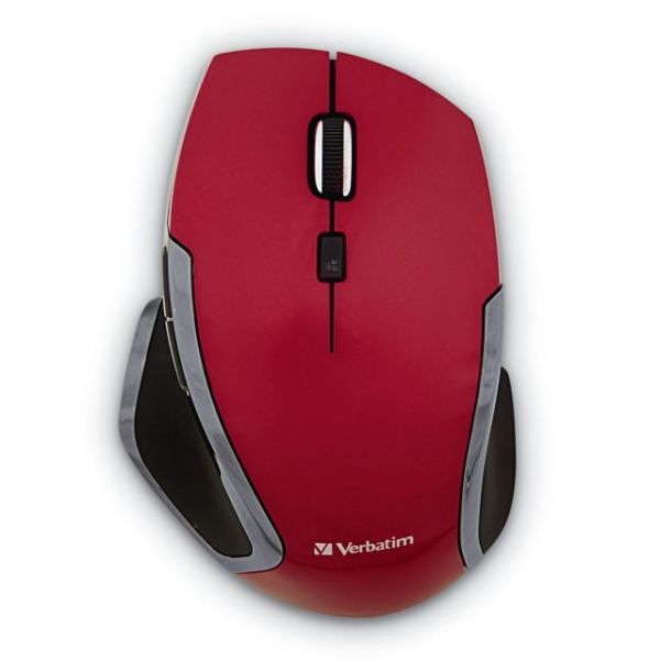 Verbatim Wireless Notebook 6-Button Deluxe Blue LED Mouse - Red
