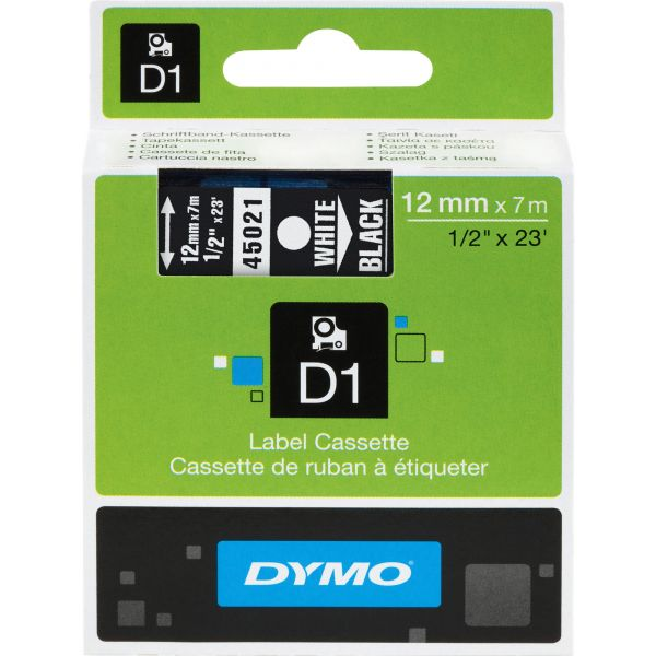"""DYMO D1 High-Performance Polyester Removable Label Tape, 1/2"""" x 23 ft, White on Black"""
