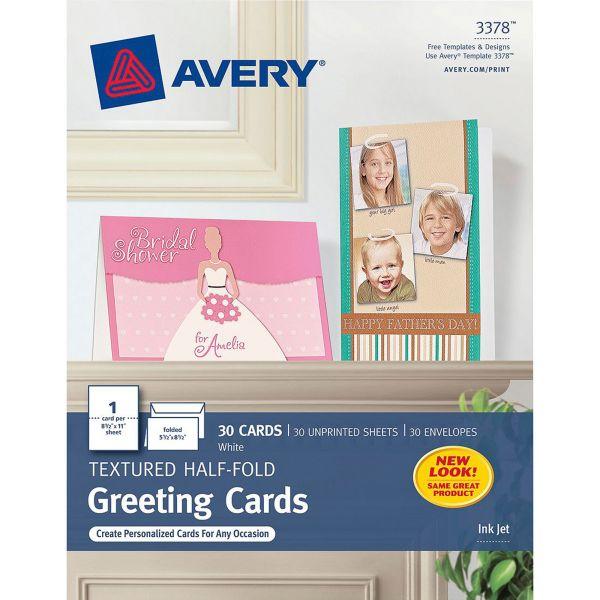 Avery Textured Half-Fold Greeting Cards, Inkjet, 5 1/2 x 8 1/2, Wht, 30/Bx w/Envelopes