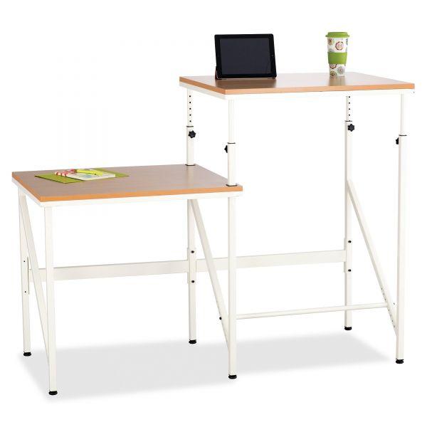 Safco Mayline Bi-Level Standing Height Desk, 57 1/2w x 24d x 50h, Beech/Cream