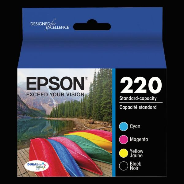 Epson 220 DURABrite Ultra Black/Cyan/Magenta/Yellow Combo Pack Ink Cartridges (T220120BCS)