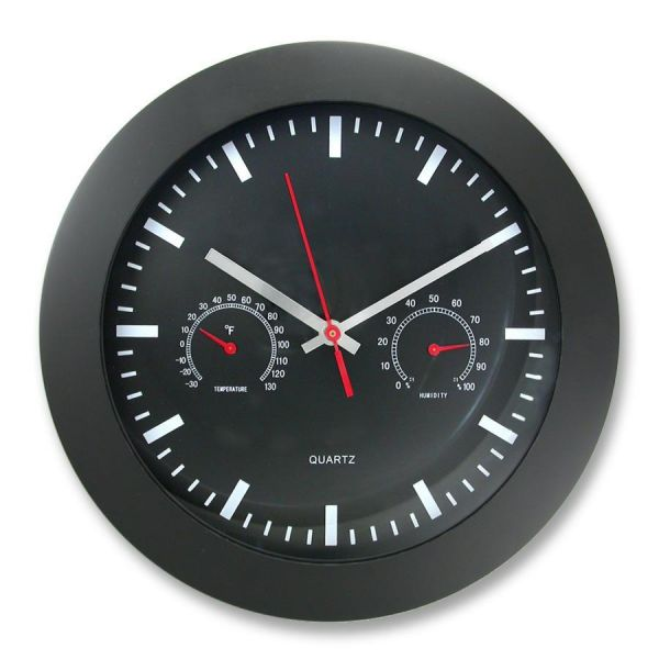 "Artistic 12"" Round Wall Clock w Temp/Humidity Gauge"