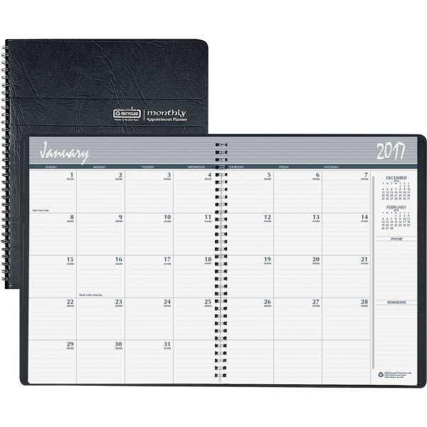 House of Doolittle Ruled Monthly Planner, 14-Month Dec.-Jan., 6-7/8 x 8-3/4, Black