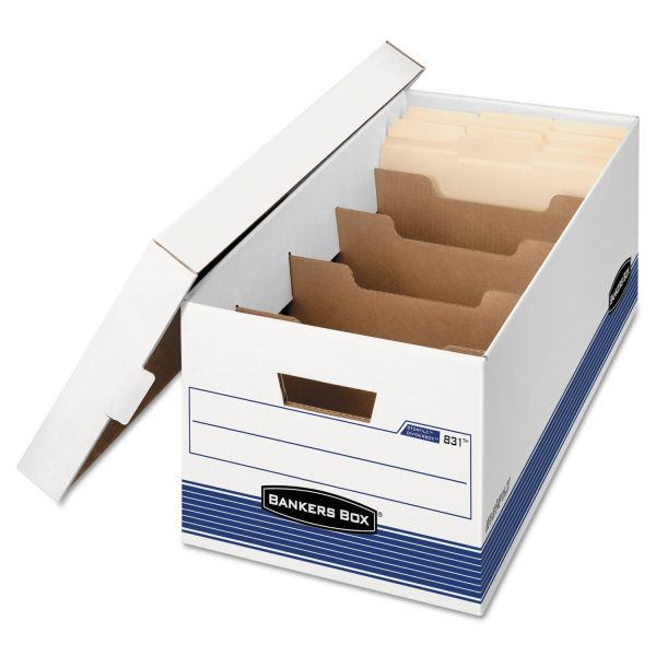 Bankers Box STOR/FILE Extra Strength Storage Box, Letter, Locking Lid, White/Blue, 12/Carton