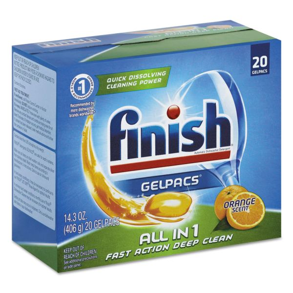 FINISH Dish Detergent Gelpacs, Orange Scent, 20 Gelpacs/Box, 8 Boxes/Carton