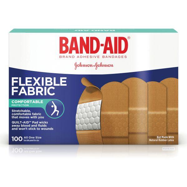 "BAND-AID Flexible Fabric Adhesive Bandages, 1"" x 3"", 100/Box"