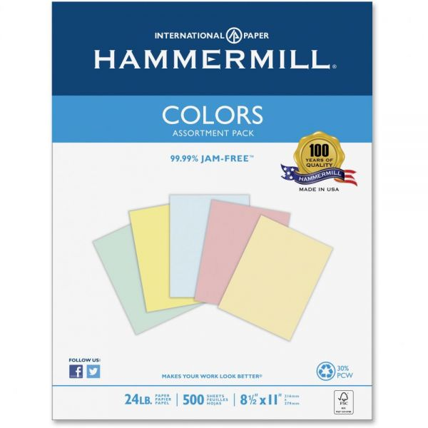 Hammermill Recycled Colored Paper, 24lb, 8-1/2 x 11, Assorted, 500 Sheets/Ream