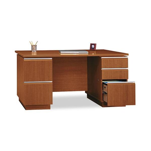 Bush Furniture Milano Series Bow Front Pedestal Computer Desk *Box 1 of 2