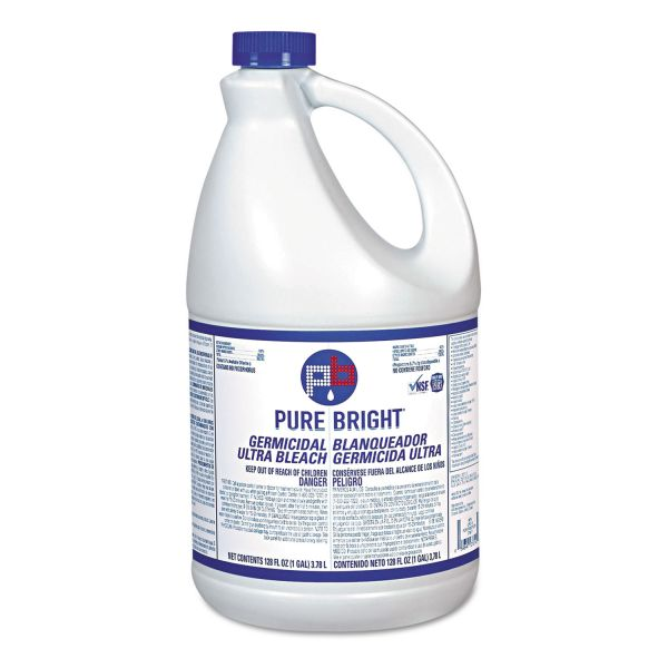 Pure Bright Liquid Bleach, 1gal Bottle, 3/Carton