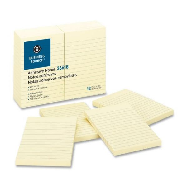 Business Source Ruled/Lined Adhesive Note Pads