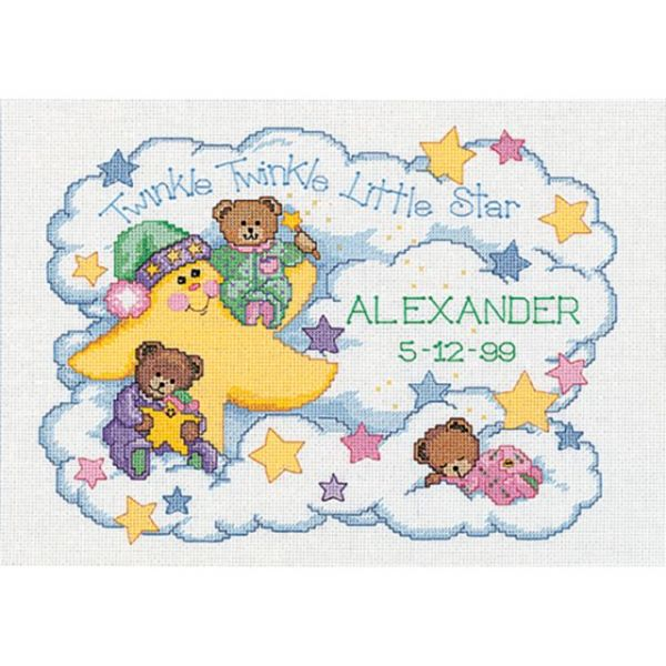 Dimensions Twinkle Twinkle Birth Record Counted Cross Stitch Kit