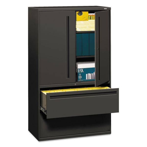 HON 700 Series Lateral File w/Storage Cabinet, 42w x 19-1/4d, Charcoal
