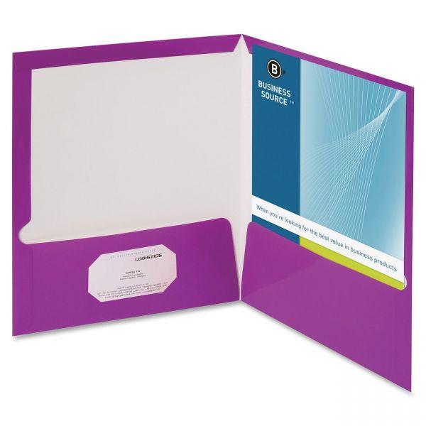 Business Source Laminated Purple Two Pocket Folders