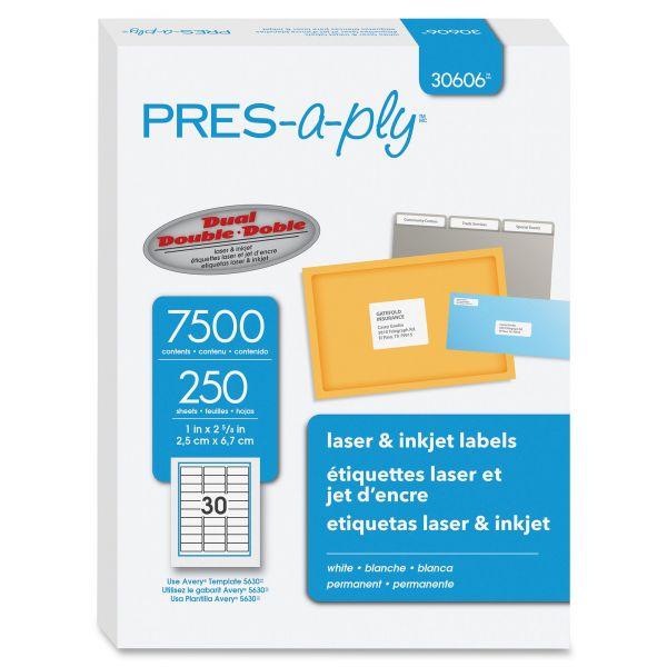 PRES-a-ply Laser Address Labels, 1 x 2 5/8, White, 7500/Box