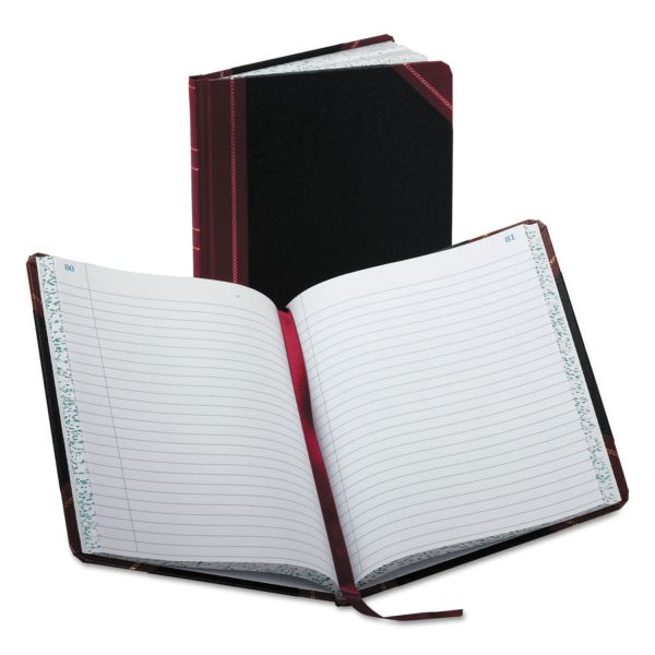 Boorum & Pease Record/Account Book, Record Rule, Black/Red, 150 Pages, 9 5/8 x 7 5/8