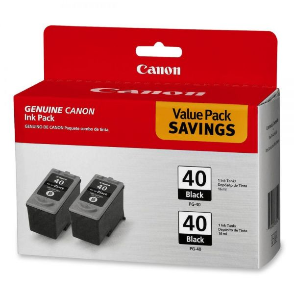 Canon PG-40 Black Twin-Pack Ink Cartridges (PG40TWINPK)