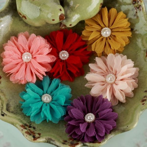 "Cabaletta Fabric Flowers W/Pearls 1.5"" 6/Pkg"