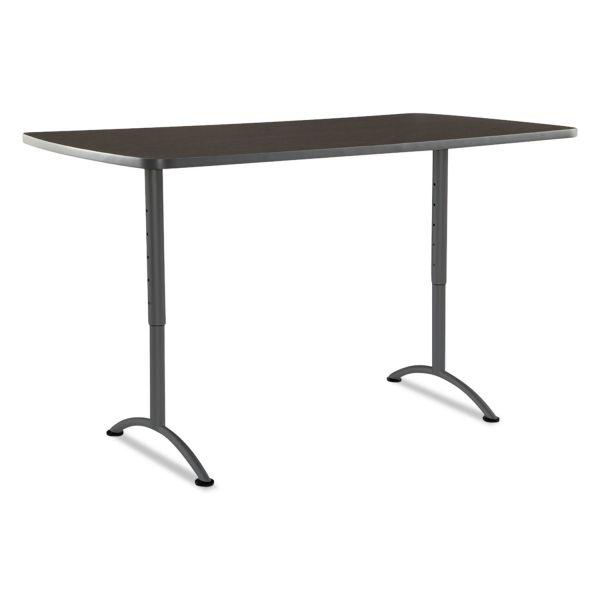 Iceberg ARC Sit-to-Stand Tables, Rectangular Top, 36w x 72d x 30-42h, Walnut/Gray