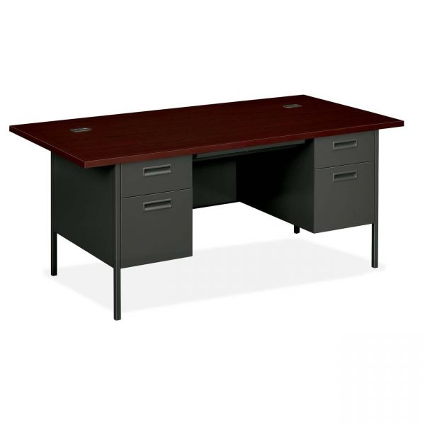 "HON Metro Classic Double Pedestal Desk | 2 Box / 2 File Drawers | 72""W"