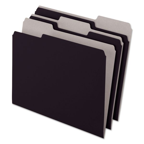 Pendaflex Interior File Folders, 1/3 Cut Top Tab, Letter, Black 100/Box