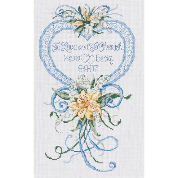 Janlynn Cherish Wedding Heart Counted Cross Stitch Kit