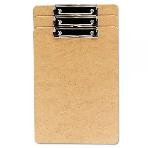 "Universal Hardboard Clipboard, 1/2"" Capacity, Holds 8 1/2w x 14h, Brown, 3/Pack"