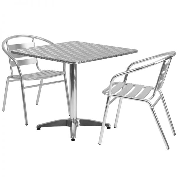 Flash Furniture 31.5'' Square Aluminum Indoor-Outdoor Table with 2 Slat Back Chairs
