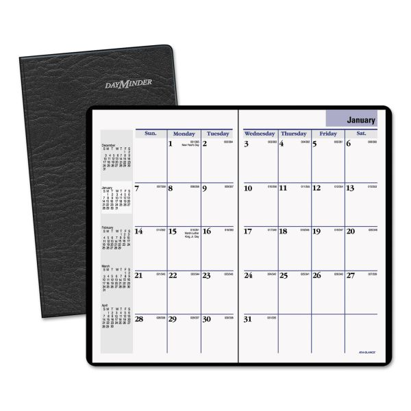 AT-A-GLANCE DayMinder Pocket-Sized Monthly Planner, 3 5/8 x 6 1/16, Black, 2019