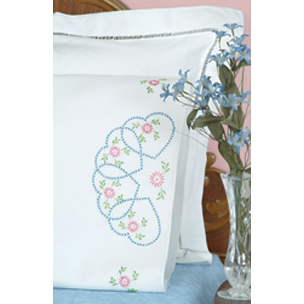 Jack Dempsey Stamped Pillowcases With White Perle Edge